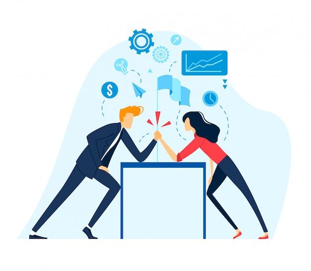 Braccio di ferro di affari, concorso industriale della concorrenza della donna di affari dell'uomo d'affari, direzione di lotta isolata sull'illustrazione bianca e piana.