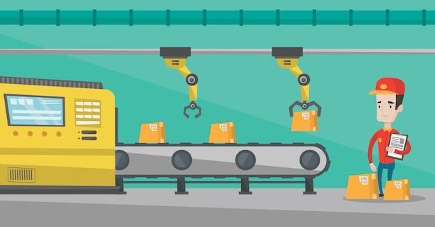 Braccio robotico che lavora sulla linea di produzione.