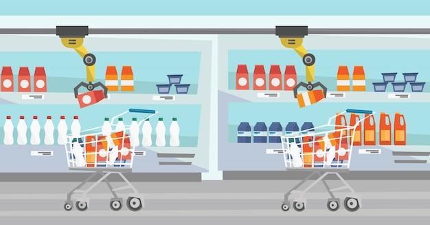 Braccio robotico che mette generi alimentari nel carrello della spesa.