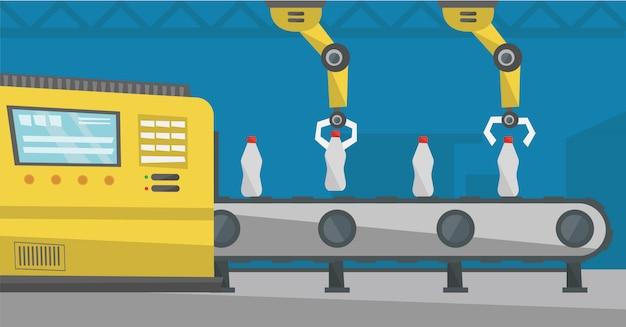 Braccio robotico funzionante su nastro trasportatore con bottiglie.