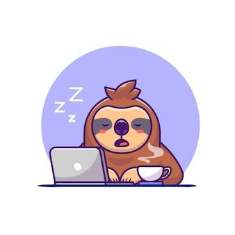Bradipo assonnato con il computer portatile e il caffè del fumetto