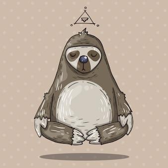 Bradipo cartoon medita. illustrazione del fumetto in stile alla moda comico.
