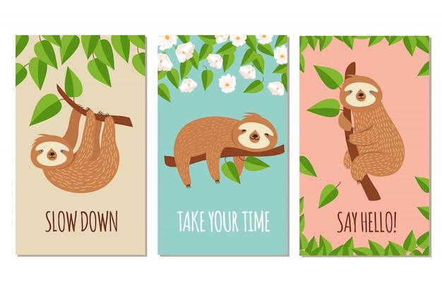 Bradipo pigro. carino bradipi addormentati sul ramo. set di cartoline o biglietti d'auguri per bambini