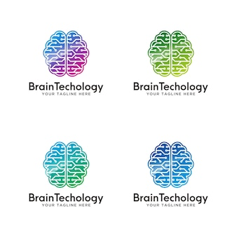 Brain tech logo. logo idea digitale.