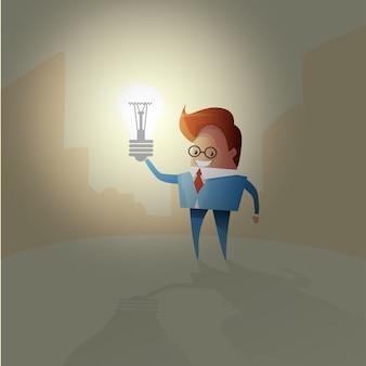 Brainstorm creativo della lampadina di concetto di idea dell'uomo di affari nuovo