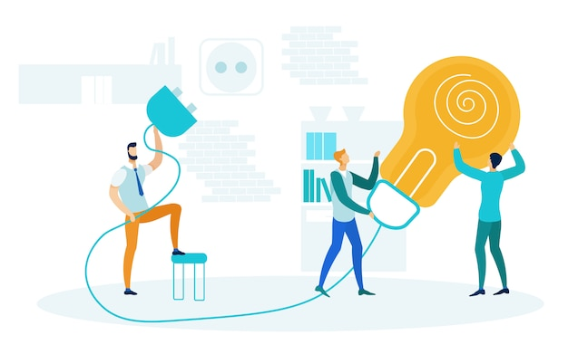 Brainstorm, startup launch vector illustration