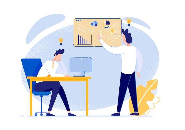 Brainstorming dell'ufficio. colleghi vestiti in modo intelligente lavorando in gruppo