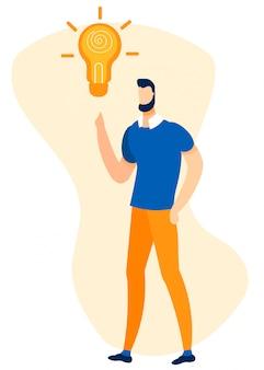 Brainstorming dell'uomo e creazione dell'illustrazione di idea