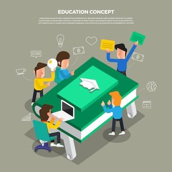 Brainstorming di concept design piatto lavorando su icona desktop istruzione. illustrare.