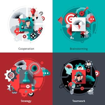 Brainstorming e set di lavoro di squadra