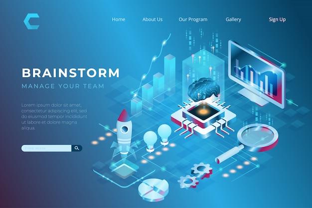Brainstorming illustrazione per aumentare le capacità di lavoro, abilità e conoscenze in stile isometrico