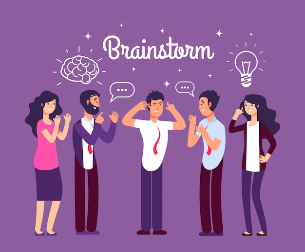 Brainstorming persone. uomo e donna che parlano e pensano.