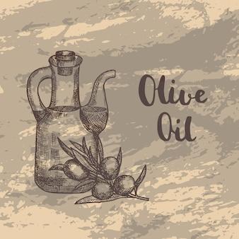 Branche di oliva disegnato a mano con bottiglia di olio sulla trama del grunge