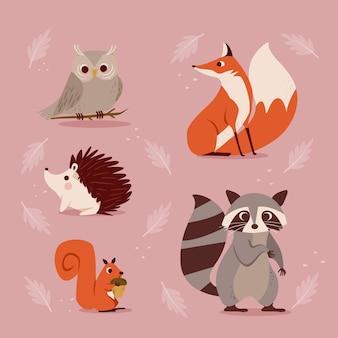 Branco di animali della foresta d'autunno