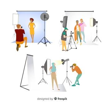 Branco di fotografi che fanno diversi scatti illustrati