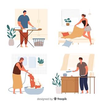 Branco di giovani che fanno i lavori domestici