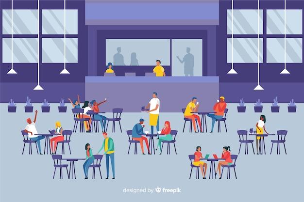Branco di persone sedute in un bar