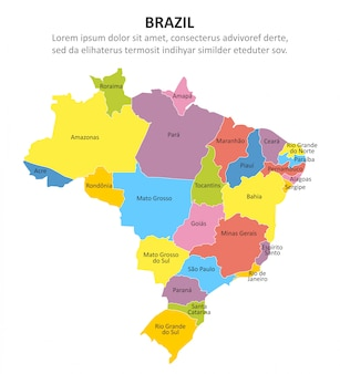 Brasile mappa multicolore con regioni