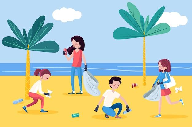Brave persone illustrate mentre pulivano la spiaggia insieme