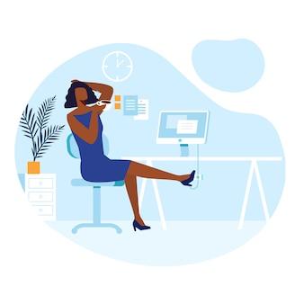 Break from work, lunchtime illustration