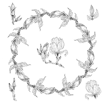 Brillante cornice floreale floreale in bianco e nero con fiori di magnolia.
