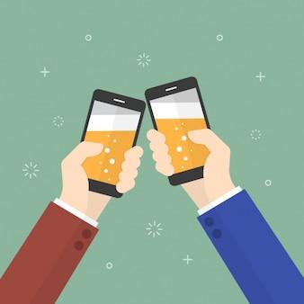 Brindando con i telefoni cellulari