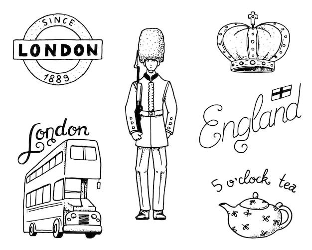 Britannici, corona e regina, teiera con tè, bus e guardia reale, londra e i signori. simboli, badge o francobolli, emblemi o monumenti architettonici, regno unito. etichetta country england.