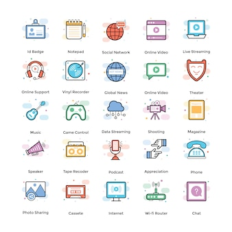 Broadcasting flat icons pack