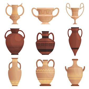 Brocca di argilla anfora antica con la tazza greca del modello e altre immagini del fumetto della nave isolate