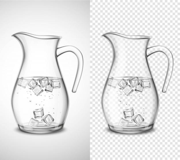 Brocca di vetro con acqua e ghiaccio