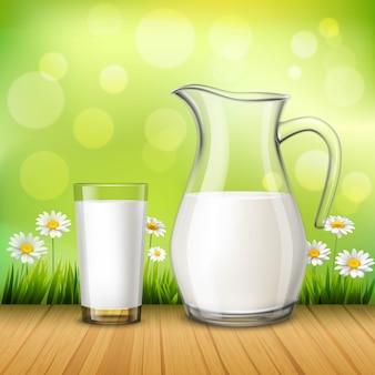 Brocca e bicchiere di latte