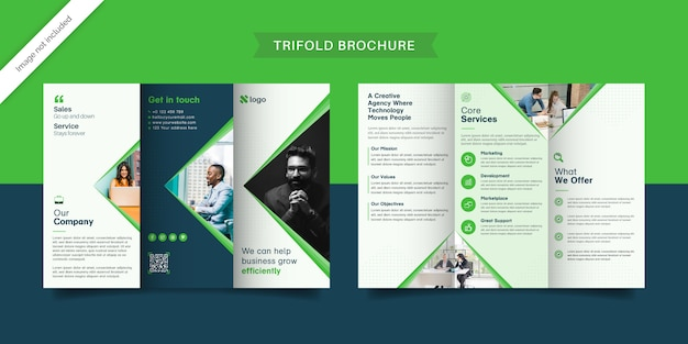 Brochure a tre ante verde