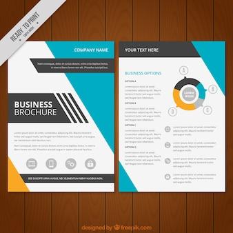 Brochure affari con dettagli arancioni e blu