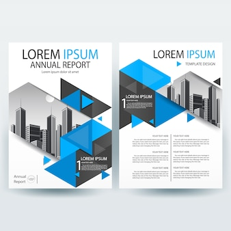 Brochure business flyer con forme blue triangle