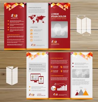 Brochure business tri fold pieghevole volantino disegno vettoriale