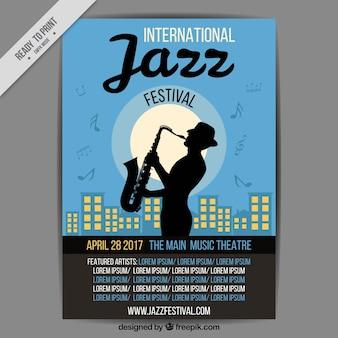Brochure del giorno jazz internazionale con il sassofono