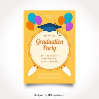 Brochure del partito di laurea con palloncini e mortarboard