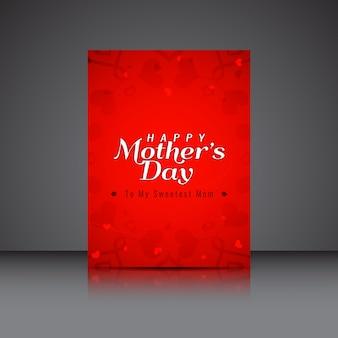 Brochure di colore rosso di giorno felice madri