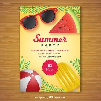 Brochure di partito con elementi estivi