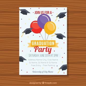 Brochure di partito di laurea piano con palloncini colorati e tappi di graduazione