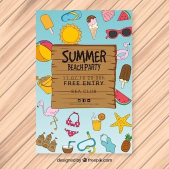 Brochure di partito estivo con elementi disegnati a mano