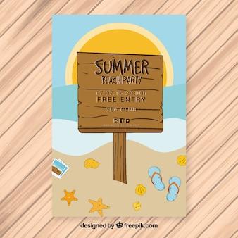 Brochure di partito estivo di un manifesto sulla spiaggia