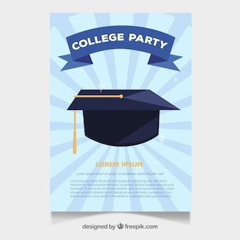 Brochure di partito universitario con mortarboard
