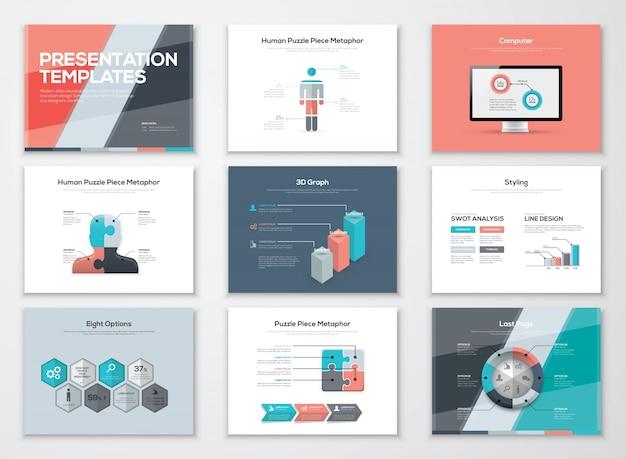 Brochure di presentazione aziendale e elementi vettoriali infografici