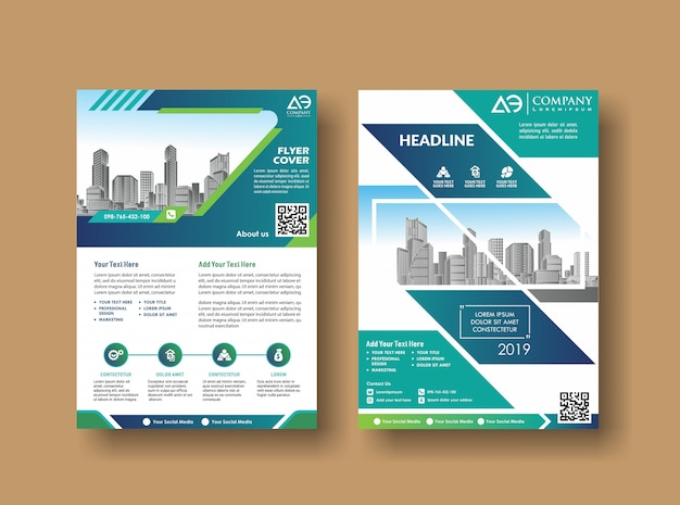 Brochure di relazione annuale sulla copertina del layout