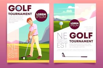 Brochure di un torneo di golf. Libretto con un uomo che gioca sull'erba verde.