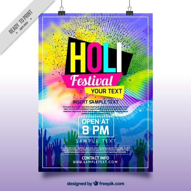 Brochure festival di holi con macchie colorate e le mani