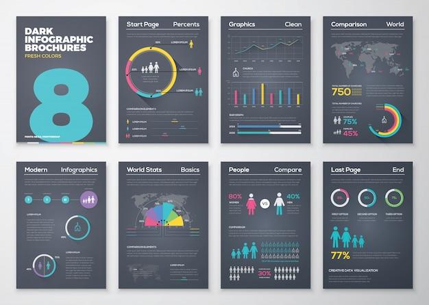 Brochure infografici con colori freschi su sfondo nero