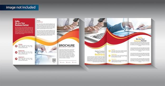 Brochure modello di business a tre ante per il marketing promozionale