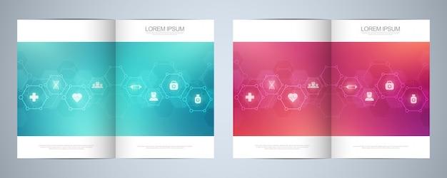 Brochure modello o copertina, libro, flyer, con simboli e icone mediche. concetto di tecnologia sanitaria, scienza e medicina.